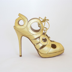 Low-Heeled Gold Shoe by Monqiue Lhuillier